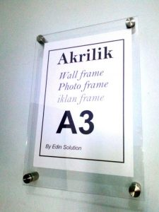 Frame A3 Akrilik /Bingkai Akrilik Poster Akrilik